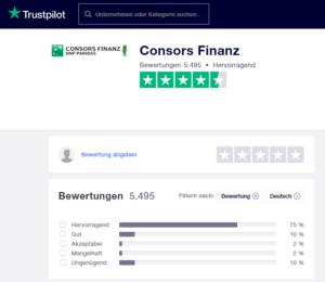 Bewertungen auf Trustpilot der Von Essen Bank, bzw. Consors Finanz