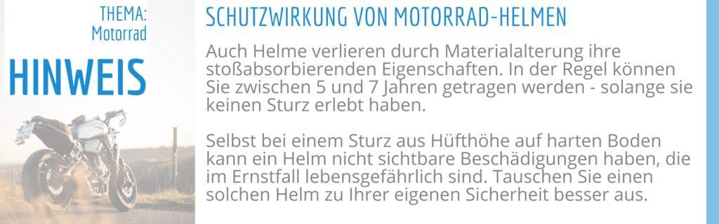 Schutzwirkung von Motorrad Helmen